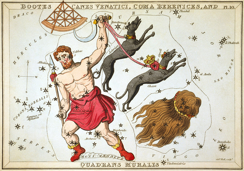 Quadrans Muralis can be seen at the top left of this 1825 star chart from Urania's Mirror.
